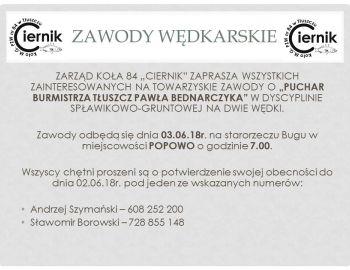 Zawody Spławikowo-Gruntowe o puchar burmistrza Tłuszcza Pawła Bednarczyka